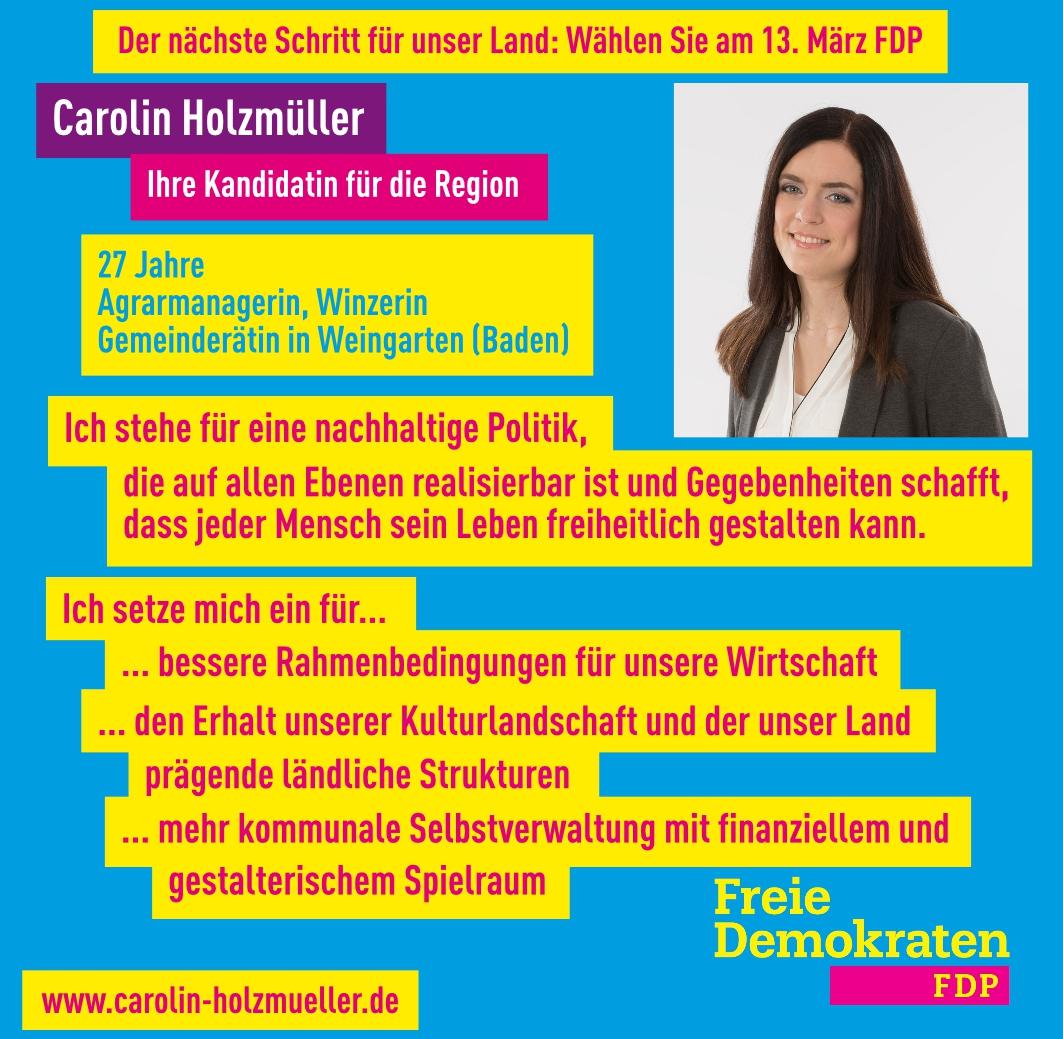 Carolin Holzmüller, unsere FDP-Landtagskandidatin im Wahlkreis 30 Bretten